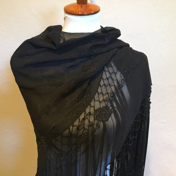 Black Fringed Embroidered Shawl / Sheer Embroidere