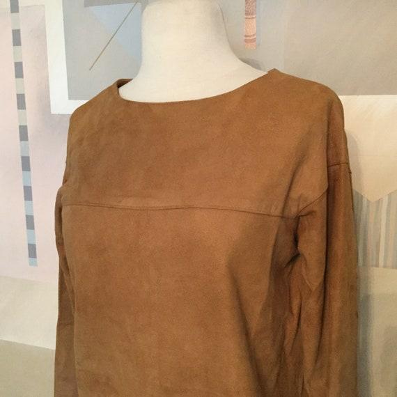 Vintage Southwest Suede Leather Top / Honey Brown