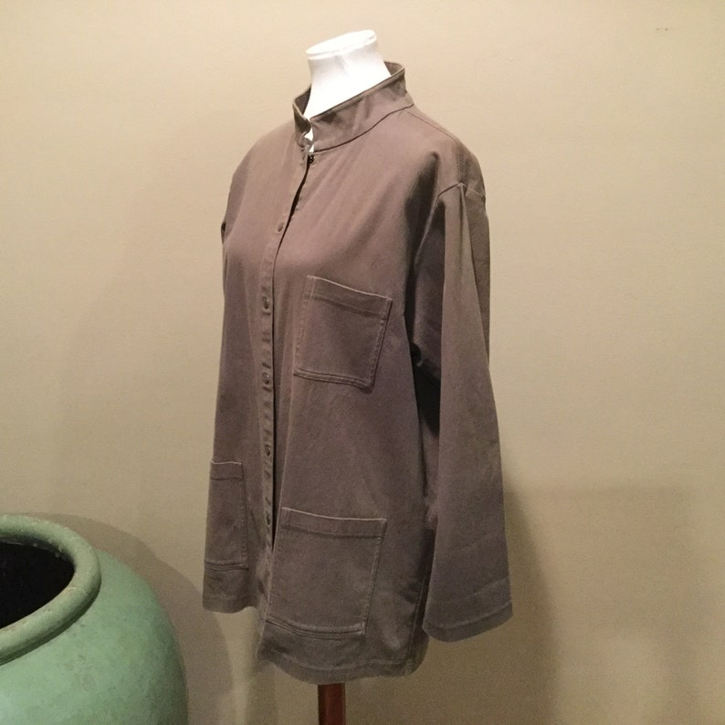 7280466ec73 Vintage Eileen Fisher Mandarin Collar Snap Front Jacket / | Etsy