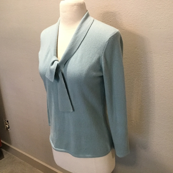 Vintage 50s Style Cashmere Sweater Womens Light Blue Etsy