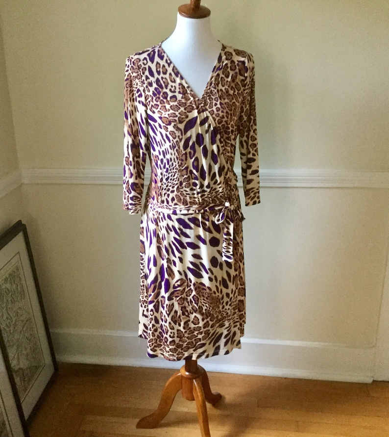 0d838182c5ed8 TAHARI LEOPARD Wrap Print Dress / Slinky Poly Wrap Dress / | Etsy