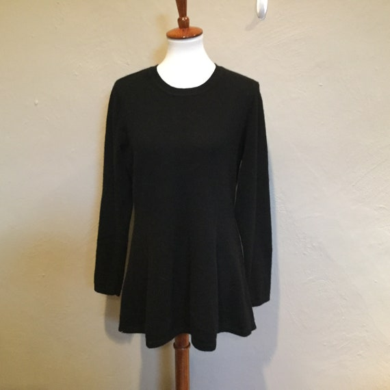 Black Cashmere Peplum Tunic Sweater / Thick Plush