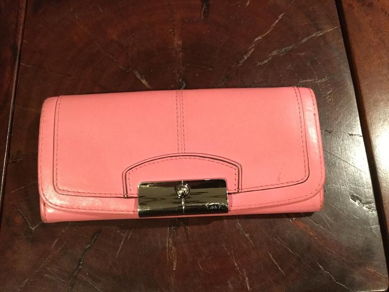 2ea2a540 Vintage COACH PINK Slim Envelope Wallet / Coach Kristin Slim Style Wallet /  Silver Hardware / Beige Leather Interior 15 Pockets & Zipper