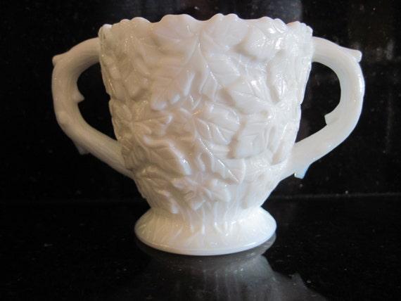 Westmoreland milk glass sugar bowl maple leaf item etsy
