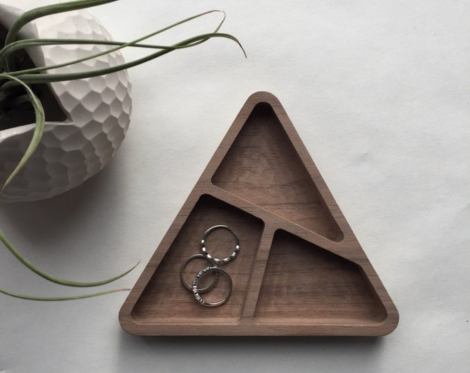 Tri-Bowl | Solid Black Walnut Divided Catchall