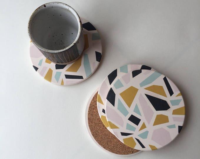 TERRAZZO absorbent stone coaster set of 4