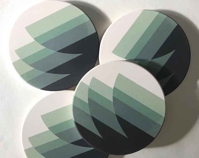 WAVES COASTERS set of 4 ceramic coasters