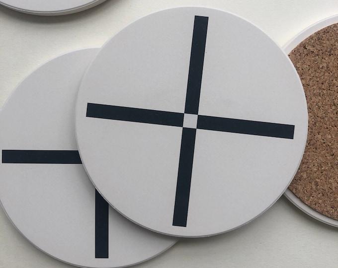 PLUS COASTERS set of 4 ceramic coasters
