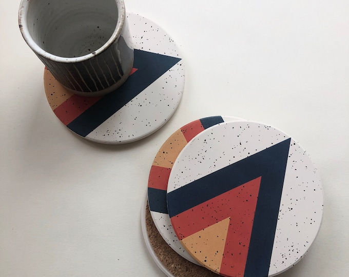 ARROW COASTERS set of 4 ceramic coasters