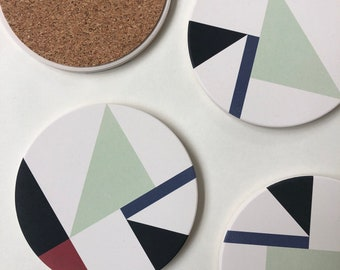 MOD COASTERS set of 4 absorbent ceramic stone