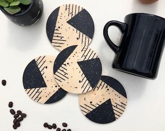 MEMPHIS set of 4 wood coasters
