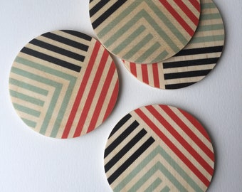 LINES set of 4 wood coasters