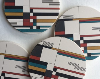 BAUHAUS absorbent ceramic coasters set of 4