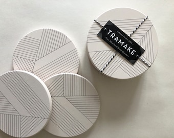 DECO COASTERS set of 4 ceramic coasters