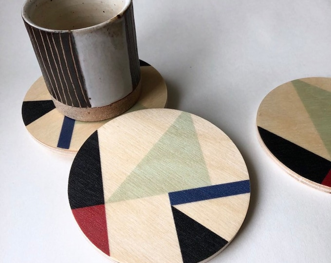 MOD wood coasters set of 4