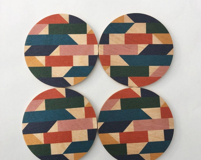 MOSAIC set of 4 wood coasters