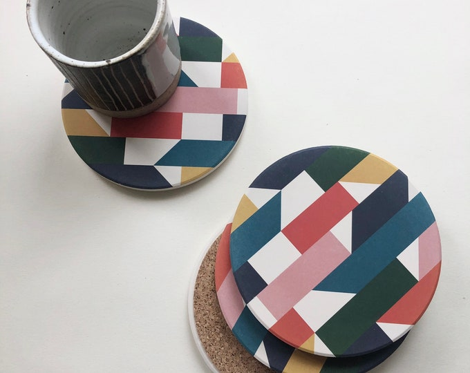 MOSAIC COASTERS set of 4 ceramic coasters