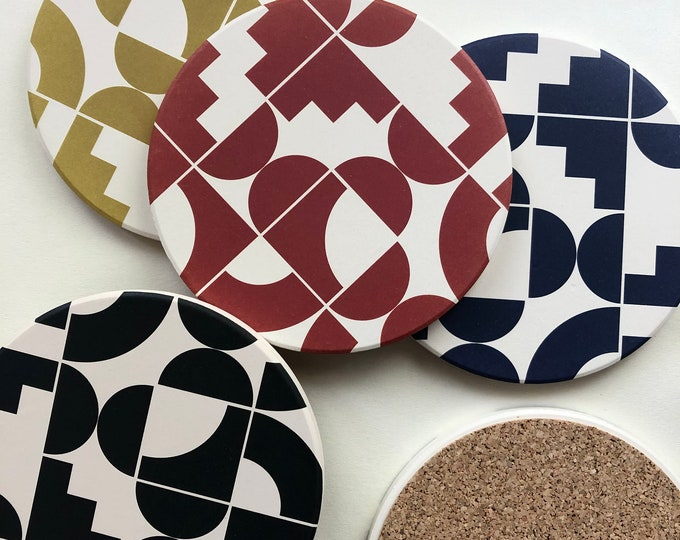 4 color SHAPES absorbent stone coaster set of 4