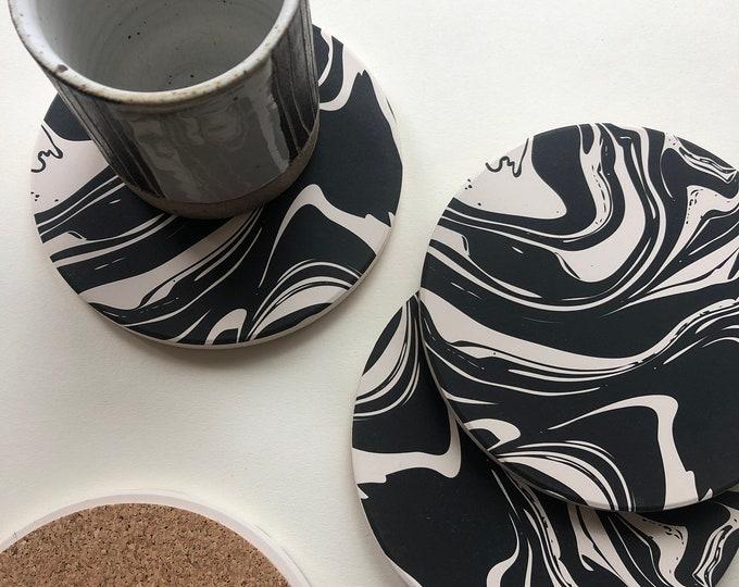 MARBLE ceramic coasters
