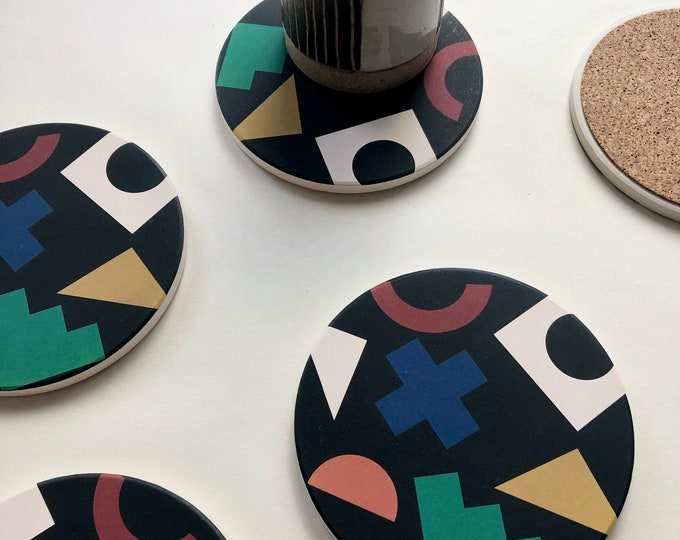 COLLAGE COASTERS set of 4 absorbent ceramic stone