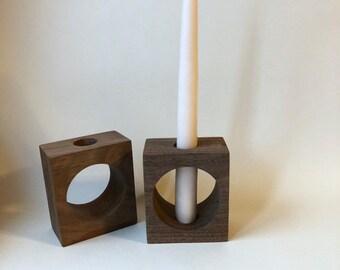 CUTOUT modern wood candlestick holder