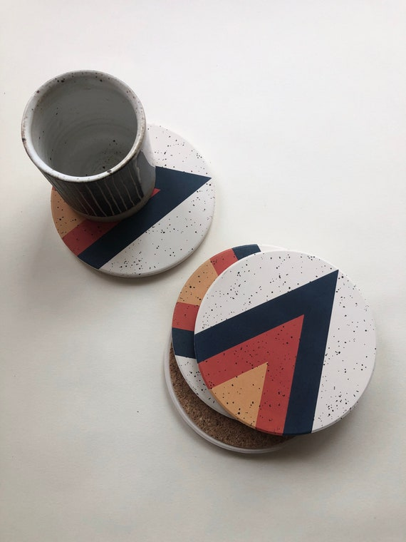 Arrow Coasters Set Of 4 Absorbent Stone Coasters Ceramic Etsy