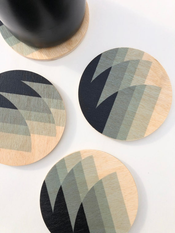 SHIFT set of 4 wood coasters