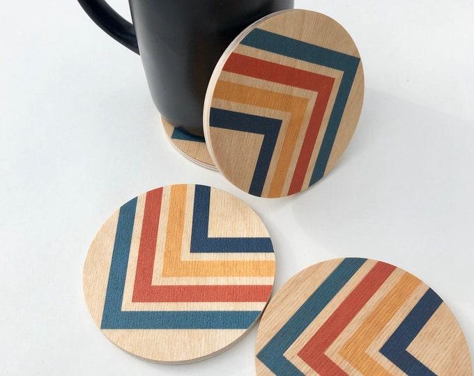 ANGLES set of 4 wood coasters
