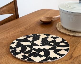 modern trivet/ geometric trivet/ printed wood trivet/ large coaster/ growler holder