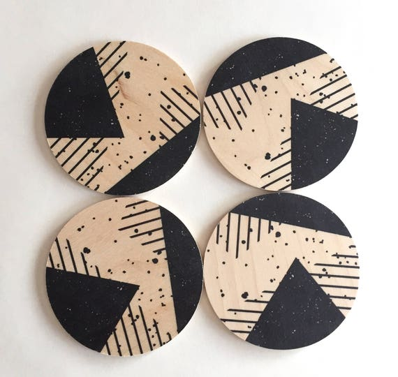 MEMPHIS set of 4 wood coasters