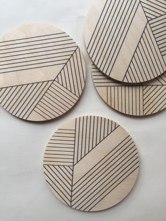 DECO set of 4 wood coasters