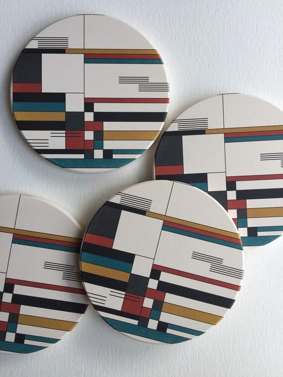 BAUHAUS absorbent ceramic coasters set of 4