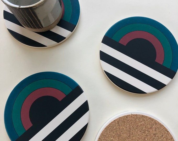 ELEMENT COASTERS set of 4 ceramic coasters