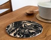 marble trivet, printed wood trivet, centerpiece, desk coaster