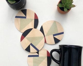 MOD wood coasters set of 4 geometric printed modern coasters