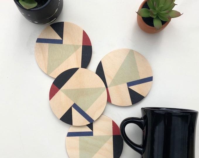 MOD wood coasters set of 4