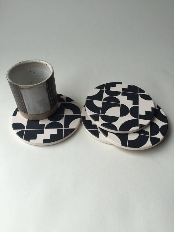SHAPES absorbent stone coaster set of 4