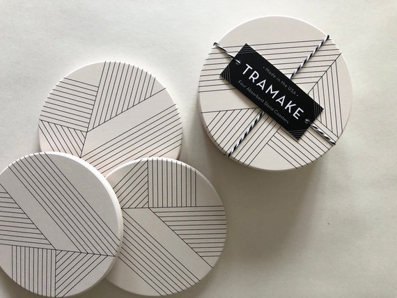 DECO COASTERS set of 4 ceramic coasters