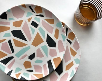 Tramake's Terrazzo Bamboo Dinner Plate - shatter resistant - kid - outdoor - picnic - sustainable