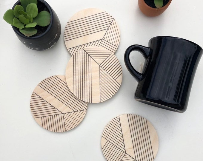 DECO set of 4 wood coasters - choose wood or ceramic stone