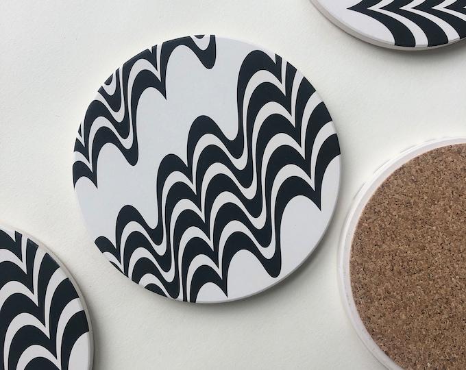 SQUIGGLE COASTERS set of 4 ceramic coasters