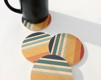 Set of 4 SUNSET COASTERS wood coasters/ absorbent and heat proof drink coasters/ coaster set