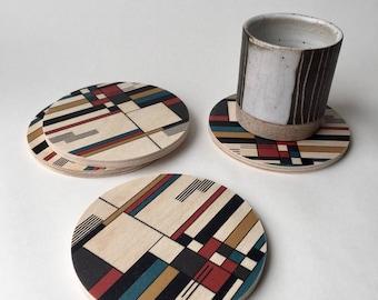 GEOMETRIC COASTERS set of 4, BAUHAUS coaster set, mid century modern coasters, wood coasters, de stijl, prairie style, modern coasters,