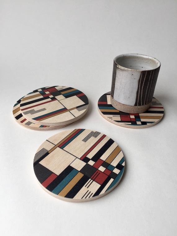 BAUHAUS set of 4 wood coasters