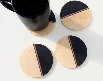 Set of 4 minimalist maximalist COASTERS wood coasters/ absorbent and heat proof drink coasters/ coaster set