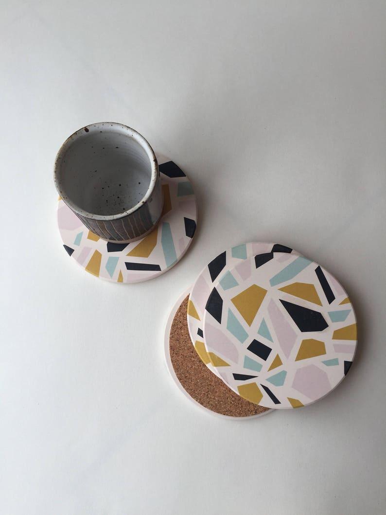 TERRAZZO COASTERS set of 4 ceramic coasters absorbent 4 ceramic coasters