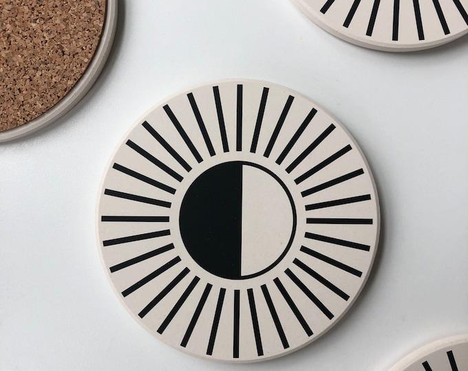 RADIAL COASTERS set of 4 ceramic coasters