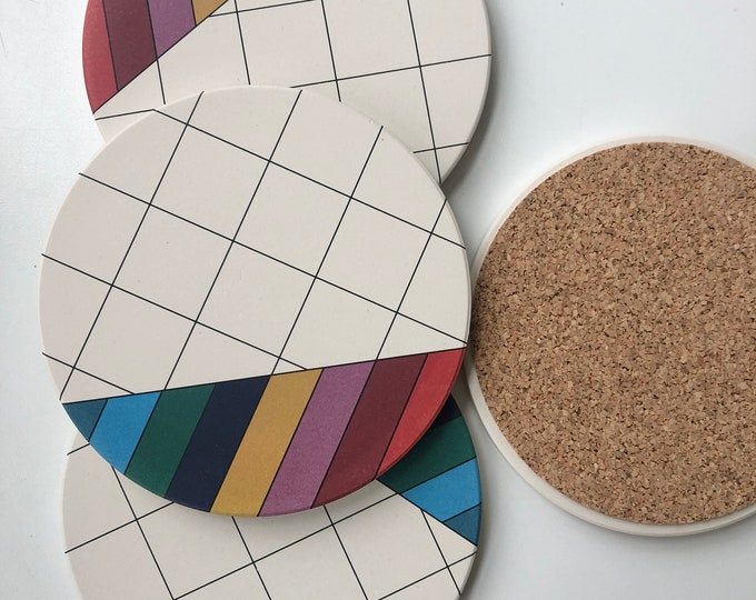 GRID COASTERS set of 4 ceramic coasters
