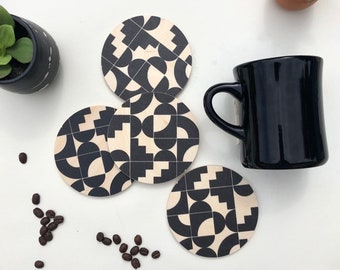 SHAPES COASTERS set of 4 wood coasters/ absorbent and heat proof drink coasters