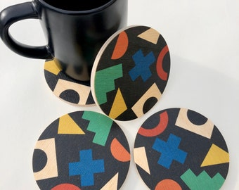 Set of 4 COLLAGE COASTERS wood coasters/ absorbent and heat proof drink coasters / coaster set